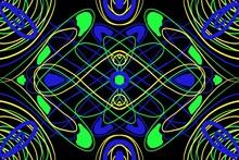 Abstract Symmetrical Kaleidoscope Pattern Design Unqiue Line Electric Neon Hippie Retro Modern Background
