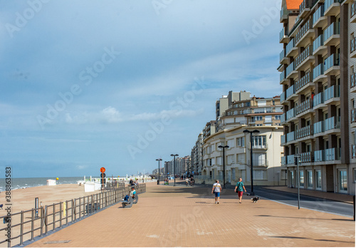 apartment buildings and boulevard on the belgian north sea coast Fotobehang