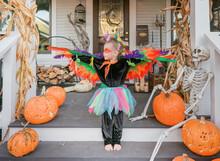 Little Girl In Homemade Bird Costume On Halloween Posing On Her Front Porch