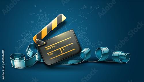 Fényképezés Online cinema art movie poster design with clapper and film-strip reel tape