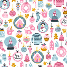 Christmas Seamless Pattern. Festive Items, Toys, And Funny Characters. Vector Illustration In Childish Hand-drawn Scandinavian Style. Limited Pastel Palette On Dark Background Ideal For Printing