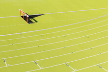 Athletics Hurdle In A Stadium Field