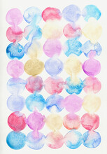 Pastel Colors Set Of Circles On White Paper