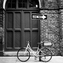 A White Bicycle In Front Of A ...