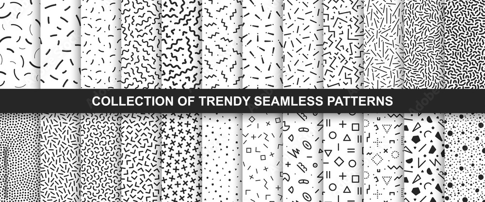 Fototapeta Big collection of memphis seamless vector patterns. Fashion design 80-90s. Black and white textures.