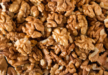 Peeled Raw Walnuts. Nuts Backg...
