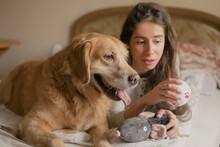 Portrait Of A Happy Dog 'Äã'Äãwith Her Mistress