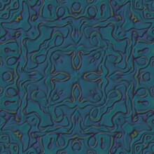 Elegant Blue Green Flower Ornaments Seamless Pattern, Retro 3D Illustration Wallpaper