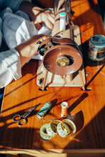 Sewing Woman In Vintage Machine