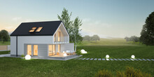 Evening View Of A Single Family Modern House With Empty Space. 3D Illustration