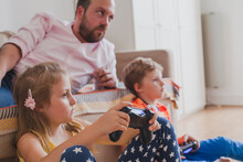 Gaming, Children Playing Video Games At Home