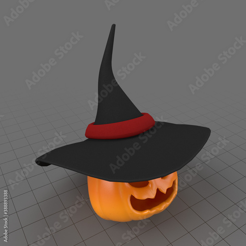 Obraz Pumpkin with witch hat - fototapety do salonu
