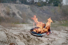 Burning Sports Sneakers Or Gym...