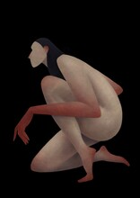 Naked Girl With Red Hands On A Black Background. Human Form Concept