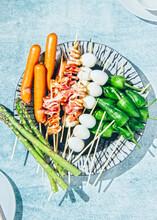 Raw Ingredients For Making Japanese Deep Fried Skewers.