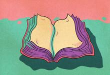 Folding Book Retro Cartoon Ill...