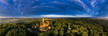 Germany, Bavaria, Bamberg, Helicopter Panorama Of Altenburg Castle At Summer Dusk