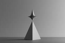 Three Dimensional Render Of Metallic Top Spinning On Top Of Geometric Pyramid