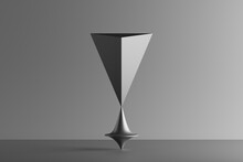 Three Dimensional Render Of Metallic Top Spinning Under Geometric Pyramid Standing Upside Down