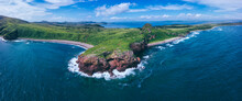 Aerial Panorama Of Coastal Cli...