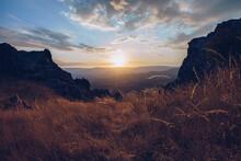 Puerto De La Puebla Mountain Pass At Sunset