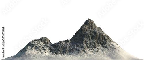 Snowy mountains Isolate on white background 3d illustration Billede på lærred
