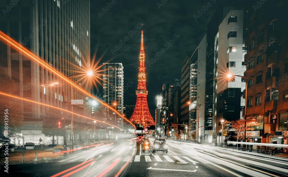 Fototapeta Tokyo cityscape at night, Japan