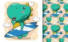 Cute Dinosaur Cartoon Is Carrying A Beach Surfboard