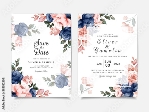 Floral wedding invitation template set with blue and brown roses flowers and leaves decoration. Botanic card design concept