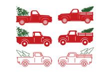 Cut Files, Christmas Truck Svg, Christmas Tree, Christmas Svg, Vintage Truck Svg, Merry Christmas, Truck With Tree Svg, Truck Bundle