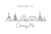 Single Continuous Line Drawing Of Chiang Mai City Skyline, Thailand. Famous City Landscape. World Travel Concept Home Wall Decor Poster Print Art. Modern One Line Draw Design Vector Illustration