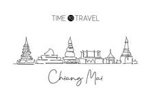 One Continuous Line Drawing Chiang Mai City Skyline, Thailand. Beautiful Landmark. World Landscape Tourism Travel Vacation Poster. Editable Stylish Stroke Single Line Draw Design Vector Illustration