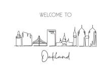 One Continuous Line Drawing Of Oakland City Skyline, California. Beautiful Landmark. World Landscape Tourism Travel Vacation Poster. Editable Stylish Stroke Single Line Draw Design Vector Illustration