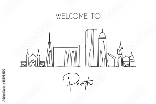 One single line drawing of Perth city skyline, Australia. Historical town landscape. Best holiday destination home decor wall art poster print. Trendy continuous line draw design vector illustration