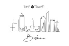 One Continuous Line Drawing Of Brisbane City Skyline, Australia. Beautiful Landmark. World Landscape Tourism Travel Vacation Poster. Editable Stylish Stroke Single Line Draw Design Vector Illustration