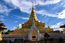 The Golden Stupa In Lanna Architecture Style Of Wat Phra That Chae Haeng Temple, The Iconic Destination In Nan Province, Thailand