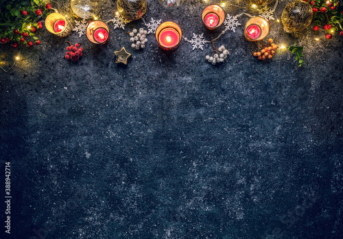 Obraz Christmas background with festive decoration - fototapety do salonu
