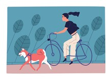 Young Woman Riding Bicycle In ...