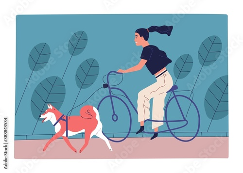 Young woman riding bicycle in park with dog on leash. Female character spending time together with domestic animal outdoors. Scene of active recreation with pet. Flat vector cartoon illustration