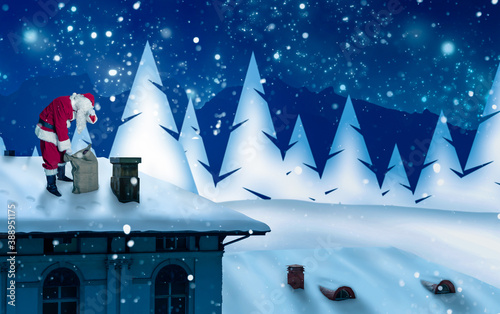 Foto santas arrival on a roof in beautiful wintry landscape