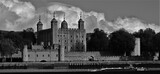 Fototapeta Kwiaty - The Tower Of London on River Thames black and white