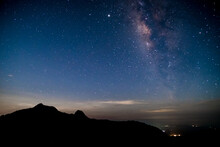Amazing Stary Night Above The Mountain Range In Doi Luang National Park, Thailand.