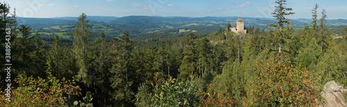 Fototapeta View of Kasperk castle from Pusty Hradek near Kasperske Hory,Plzen Region,Czech republic,Europe  obraz