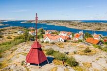 """Aerial View Of The Watch Tower """"Båken, , Overlooking The Islands Kalvsund And Björkö, Gothenburg Archipelago, Kattagat, Sweden."""