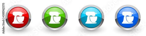 Foto Planetary mixer, kitchen equipment silver metallic glossy icons, set of modern d