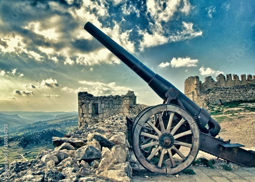 Canvastavla Historic cannon on the Morella castle, Castellon - Spain