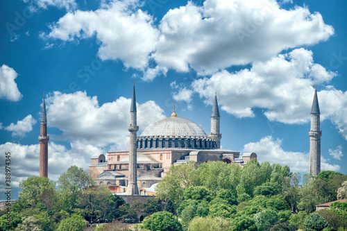 Tela Hagia Sophia With Blue Sky And Clouds, Istanbul, Turkey