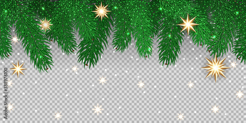 Valokuvatapetti Green vector fir branches, lights, stars, isolated on transparent background