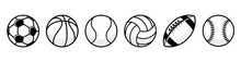 Sport Balls Set. Ball Icons. Balls For Football, Soccer, Basketball, Tennis, Baseball, Volleyball. Vector Illustration