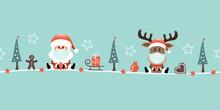 Banner Weihnachtsmann Und Rentier Maske Icons Türkis
